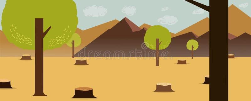 Πιό deforest σχέδιο φύσης κινούμενων σχεδίων με τα βουνά και το υπόβαθρο ουρανού r Έννοια Deforest διανυσματική απεικόνιση