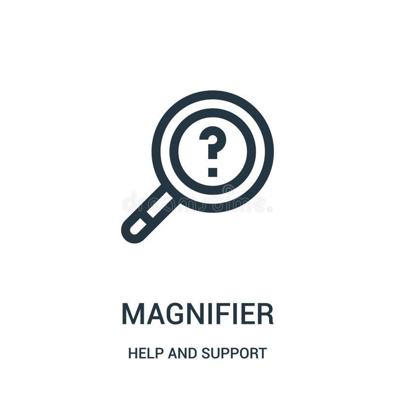 πιό magnifier διάνυσμα εικονιδίων από τη συλλογή βοήθειας και υποστήριξης Λεπτή διανυσματική απεικόνιση εικονιδίων περιλήψεων γρα απεικόνιση αποθεμάτων