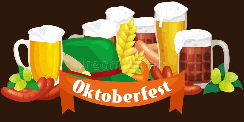 Πιό oktoberfest, βαυαρική μπύρα φεστιβάλ μπύρας της Γερμανίας στην κούπα γυαλιού, παραδοσιακός εορτασμός κομμάτων, διανυσματική α διανυσματική απεικόνιση