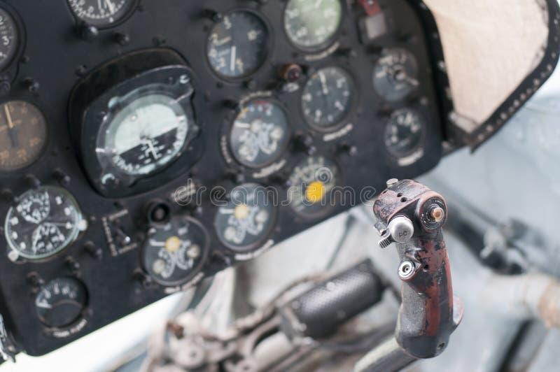 Πιλοτήριο αεροπλάνων, παλαιά αεροσκάφη στοκ εικόνα