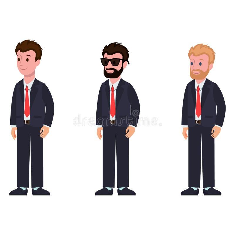 Πλάγια όψη κοστουμιών και δεσμών χαρακτηρών κινουμένων σχεδίων κλασική απεικόνιση αποθεμάτων