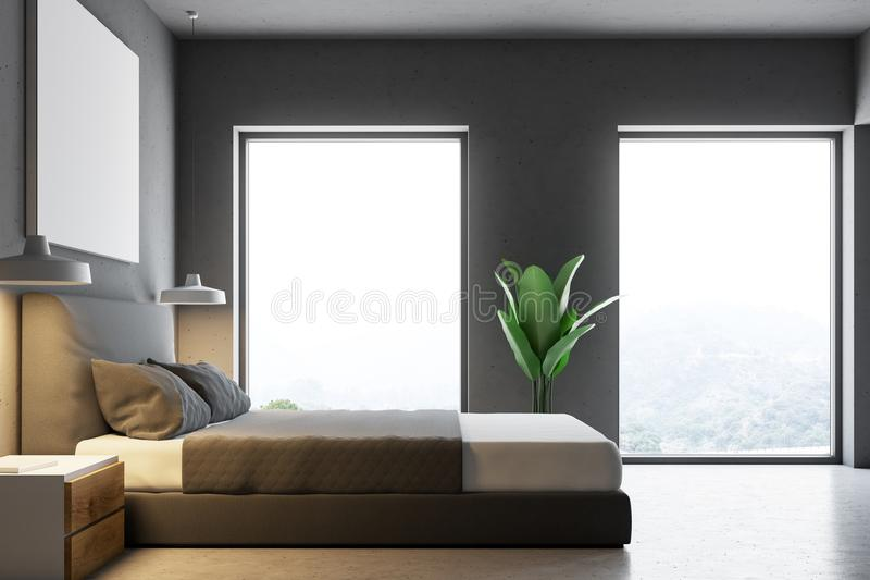 Πλάγια όψη μιας γκρίζας κρεβατοκάμαρας με μια αφίσα διανυσματική απεικόνιση