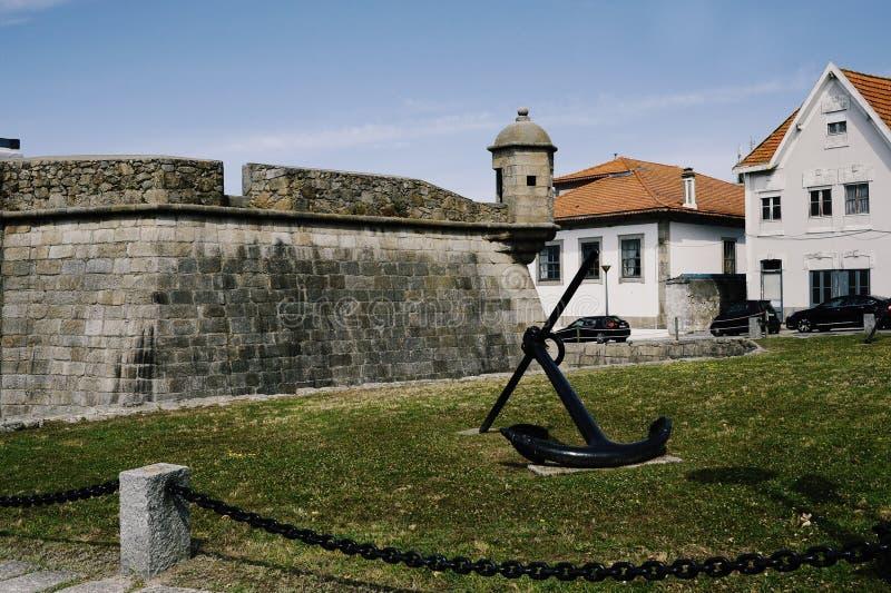 Πλάγια όψη σχετικά με το κάστρο σε Leça DA Palmeira στοκ εικόνα με δικαίωμα ελεύθερης χρήσης