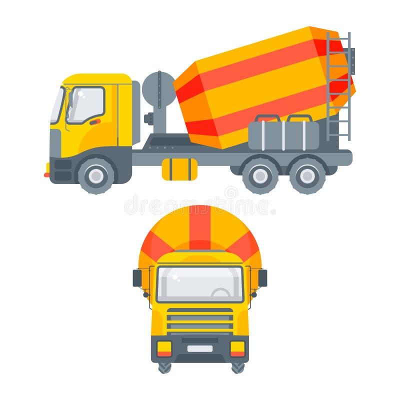 Πλάγια όψη φορτηγών αναμικτών τσιμέντου και μπροστινή άποψη ελεύθερη απεικόνιση δικαιώματος