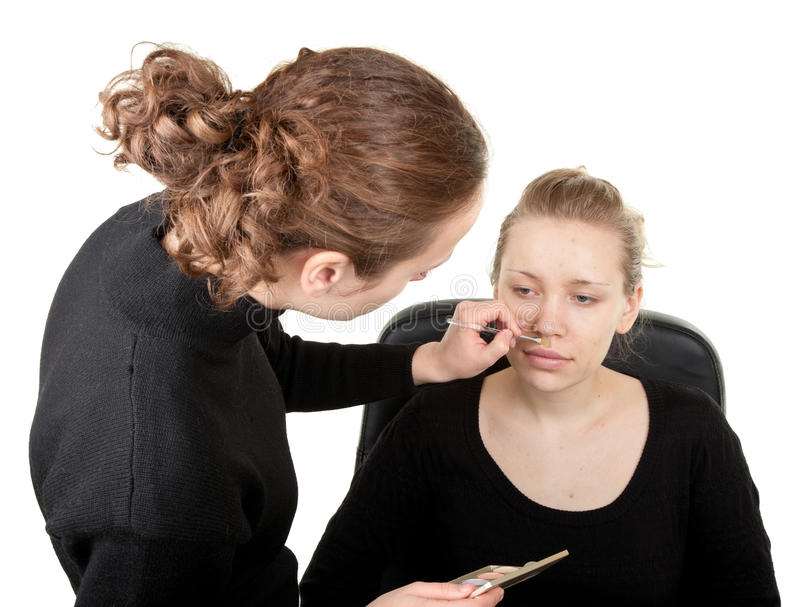 πλάνο διαδικασίας 15 makeup στοκ φωτογραφία