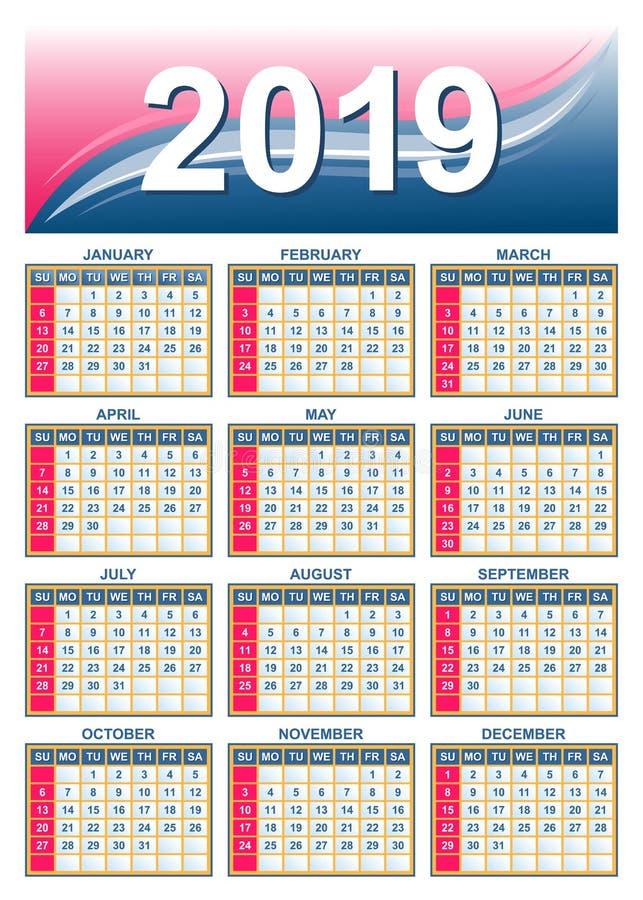 Πλέγμα 2019 ΑΜΕΡΙΚΑΝΙΚΩΝ ημερολογίων στο διάνυσμα απεικόνιση αποθεμάτων