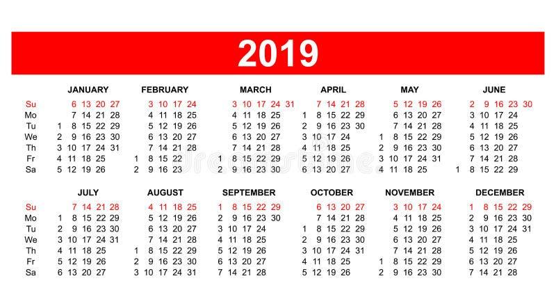 Πλέγμα 2019 ΑΜΕΡΙΚΑΝΙΚΩΝ ημερολογίων στο διάνυσμα διανυσματική απεικόνιση