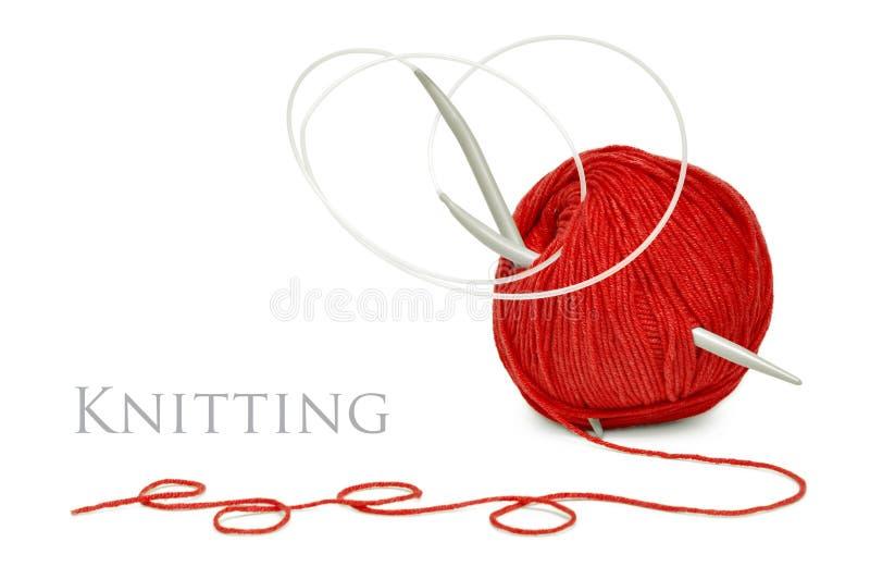πλέκοντας κόκκινο μαλλί &beta στοκ φωτογραφίες με δικαίωμα ελεύθερης χρήσης