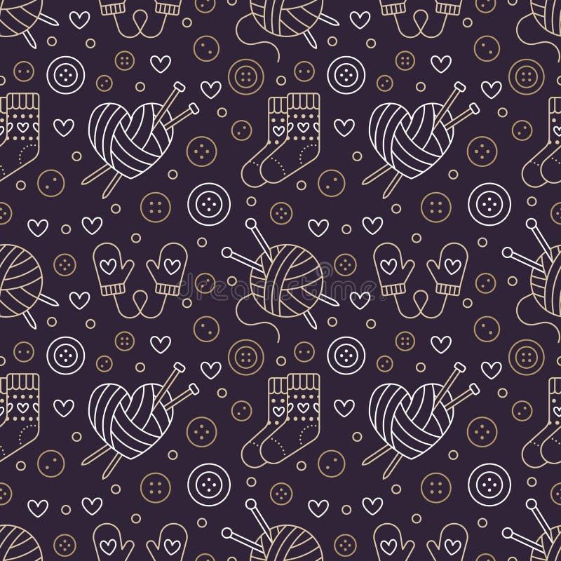Πλέξιμο, άνευ ραφής σχέδιο τσιγγελακιών Χαριτωμένη διανυσματική επίπεδη απεικόνιση γραμμών του χεριού - γίνοντη πλέκοντας βελόνα  ελεύθερη απεικόνιση δικαιώματος