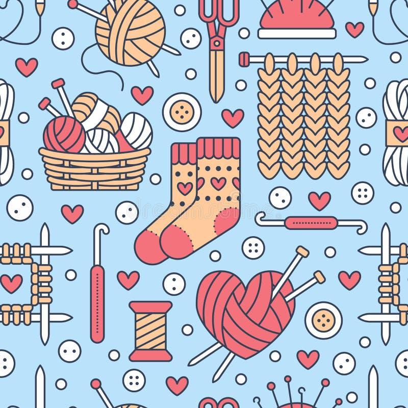 Πλέξιμο, άνευ ραφής σχέδιο τσιγγελακιών διανυσματική απεικόνιση