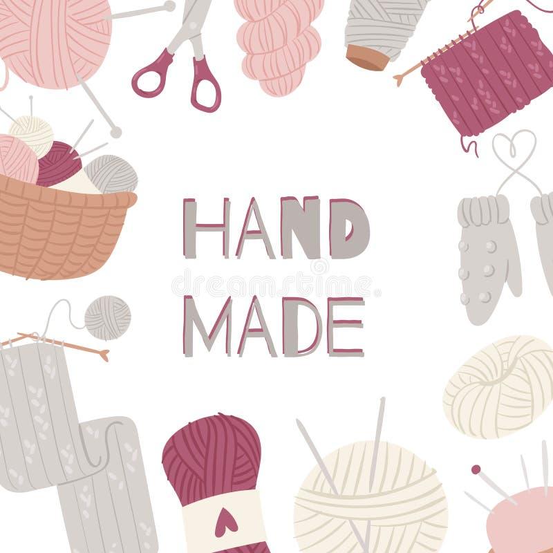 Πλέξιμο και τεχνών και τεχνών ραψίματος διανυσματικό πλαίσιο που απομονώνεται στο λευκό Χέρι - γίνοντα knitwear με τις προμήθειες απεικόνιση αποθεμάτων