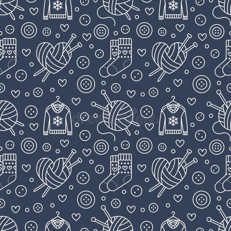 Πλέξιμο, ράβοντας άνευ ραφής σχέδιο Χαριτωμένη διανυσματική επίπεδη απεικόνιση γραμμών του χεριού - γίνοντη πλέκοντας βελόνα εξοπ απεικόνιση αποθεμάτων