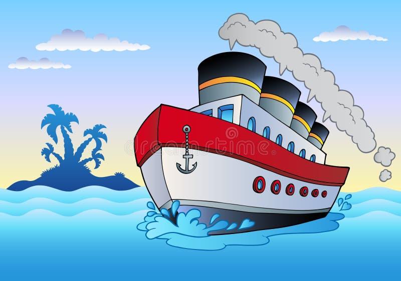 πλέοντας ατμόπλοιο θάλα&sigma διανυσματική απεικόνιση