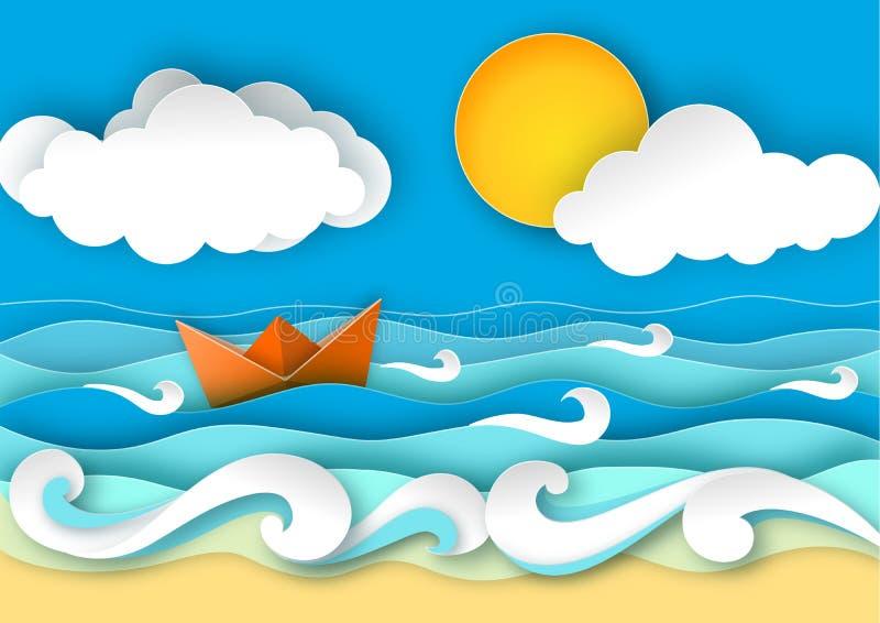 Πλέοντας βάρκα Origami που γίνεται από το έγγραφο Κύματα θάλασσας και τροπική παραλία στο ύφος τέχνης εγγράφου διανυσματική απεικ ελεύθερη απεικόνιση δικαιώματος
