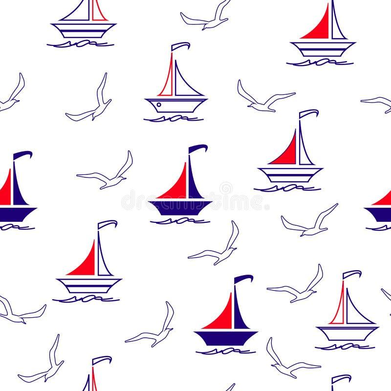 Πλέοντας βάρκες και Seagulls ελεύθερη απεικόνιση δικαιώματος