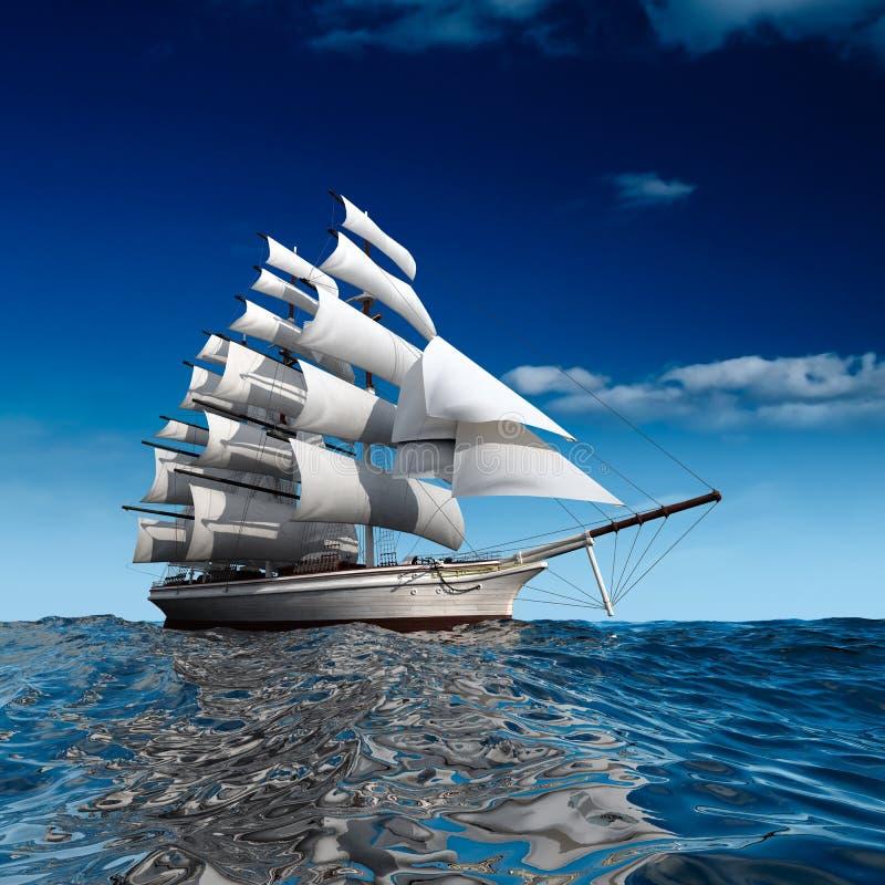 πλέοντας σκάφος θάλασσα& διανυσματική απεικόνιση