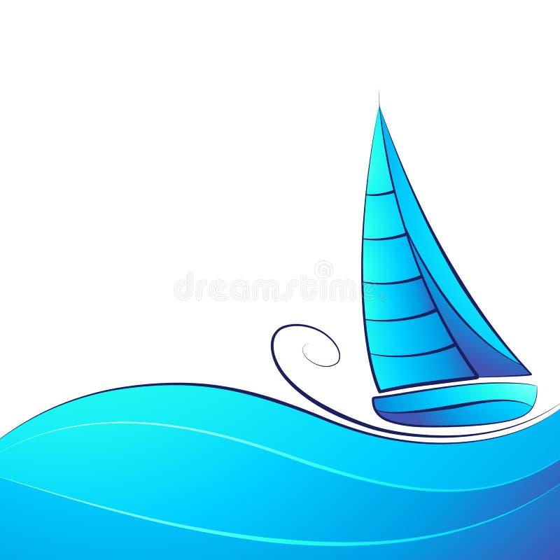 πλέοντας σκάφος διανυσματική απεικόνιση