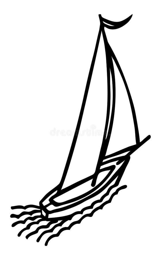 Πλέοντας σκίτσο γιοτ. διανυσματική απεικόνιση