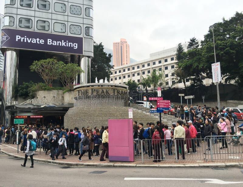 Πλήθος αναμονής στο μέγιστο τραμ, Χονγκ Κονγκ στοκ εικόνα με δικαίωμα ελεύθερης χρήσης