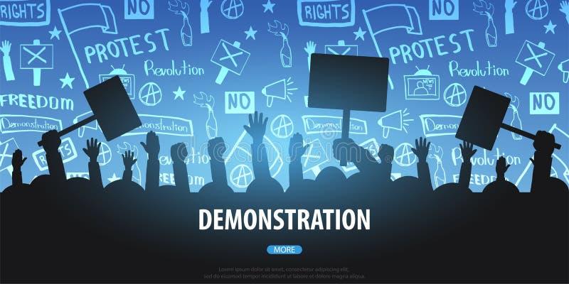 Πλήθος σκιαγραφιών των ανθρώπων με τις σημαίες, εμβλήματα Επίδειξη, εκδήλωση, διαμαρτυρία, απεργία, επανάσταση Το έμβλημα με χέρι απεικόνιση αποθεμάτων