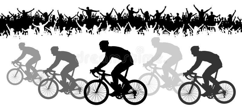 Πλήθος των ανεμιστήρων, σκιαγραφία Φυλή ποδηλάτων Έμβλημα αθλητικής εκδήλωσης διανυσματική απεικόνιση