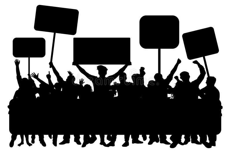 Πλήθος των ανθρώπων με τα εμβλήματα, διάνυσμα σκιαγραφιών Επίδειξη, εκδήλωση, διαμαρτυρία, απεργία, επανάσταση ελεύθερη απεικόνιση δικαιώματος