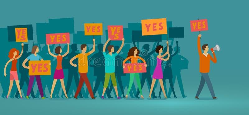 Πλήθος των ανθρώπων με τα εμβλήματα που περπατούν στη δημόσια εκδήλωση Η επίδειξη, δικαιώματα, παρελαύνει τη διανυσματική απεικόν ελεύθερη απεικόνιση δικαιώματος
