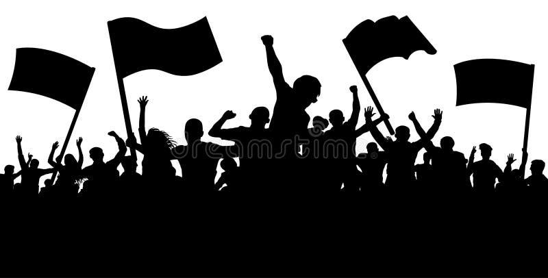 Πλήθος των ανθρώπων με τις σημαίες, εμβλήματα Αθλητισμός, όχλος, ανεμιστήρες Επίδειξη, εκδήλωση, διαμαρτυρία, απεργία, επανάσταση διανυσματική απεικόνιση