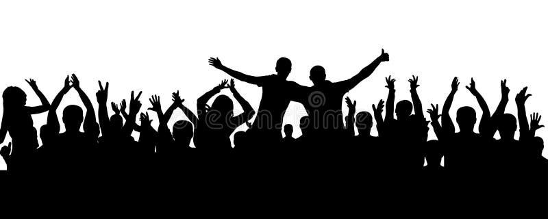Πλήθος των ανθρώπων που επιδοκιμάζουν τη σκιαγραφία Εύθυμο ακροατήριο, διάνυσμα διανυσματική απεικόνιση