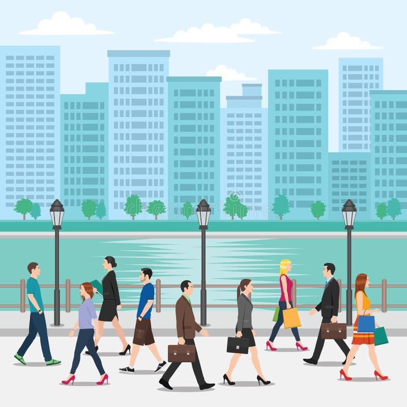Πλήθος των ανθρώπων που περπατούν στην οδό με το υπόβαθρο εικονικής παράστασης πόλης διανυσματική απεικόνιση