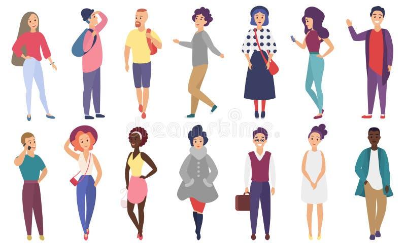 Πλήθος των διανυσματικών τυποποιημένων ανθρώπων που εκτελούν τις θερινές υπαίθριες δραστηριότητες Ομάδα αρσενικών και θηλυκών επί ελεύθερη απεικόνιση δικαιώματος