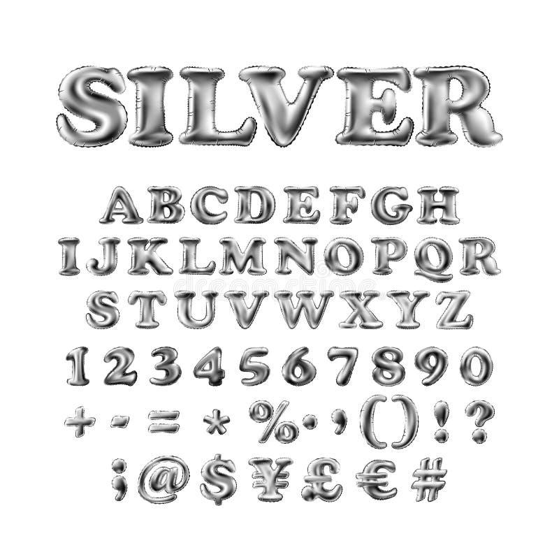 Πλήρες αγγλικό αλφάβητο των ασημένιων διογκώσιμων μπαλονιών με το θαυμαστικό, ερωτηματικό και hashtag απομονωμένος στο άσπρο υπόβ διανυσματική απεικόνιση