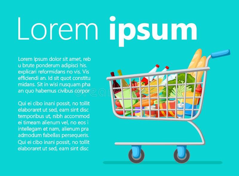 Πλήρες κάρρο καροτσακιών αγορών υπεραγορών αυτοεξυπηρετήσεων με τα φρέσκα προϊόντα παντοπωλείων και την κόκκινη πώληση απεικόνιση ελεύθερη απεικόνιση δικαιώματος