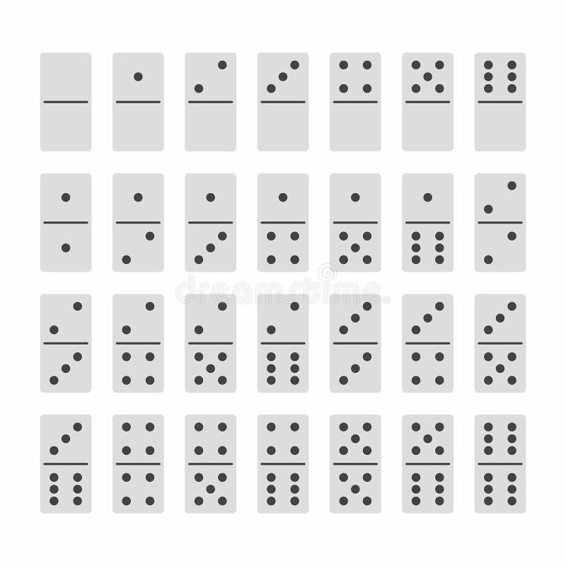 Πλήρες σύνολο πετρών ντόμινο στο λευκό ελεύθερη απεικόνιση δικαιώματος