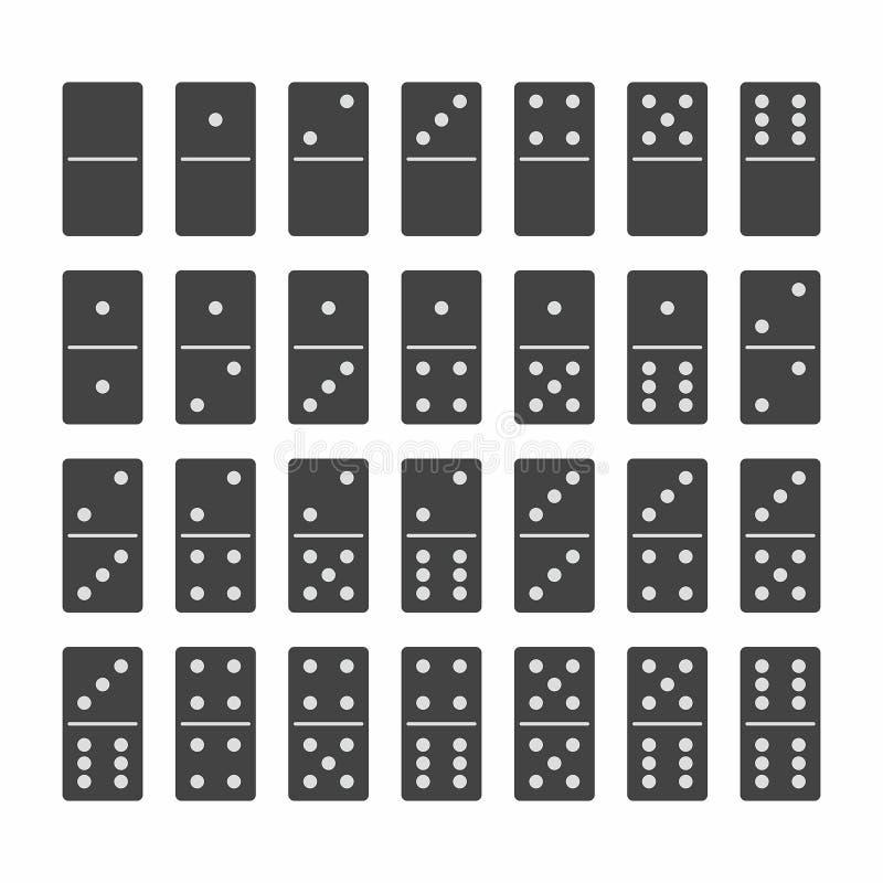 Πλήρες σύνολο πετρών ντόμινο στο Μαύρο ελεύθερη απεικόνιση δικαιώματος