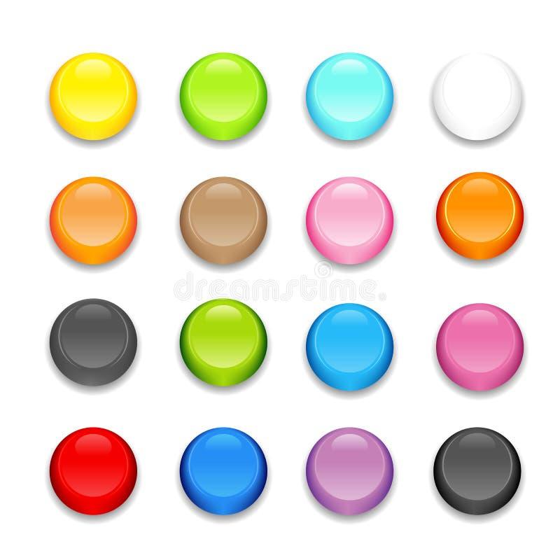 Πλήρες σύνολο σχεδίου κουμπιών επιλογής χρωμάτων. απεικόνιση αποθεμάτων