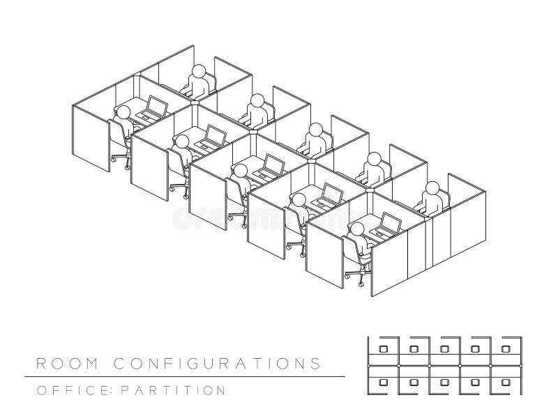 Πλήρες ύφος χωρισμάτων διαμόρφωσης σχεδιαγράμματος οργάνωσης δωματίων γραφείων, τρισδιάστατος isometric προοπτικής με τη τοπ απει διανυσματική απεικόνιση