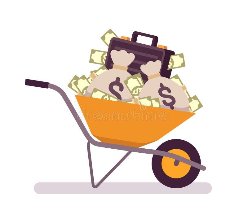 πλήρες wheelbarrow χρημάτων απεικόνιση αποθεμάτων