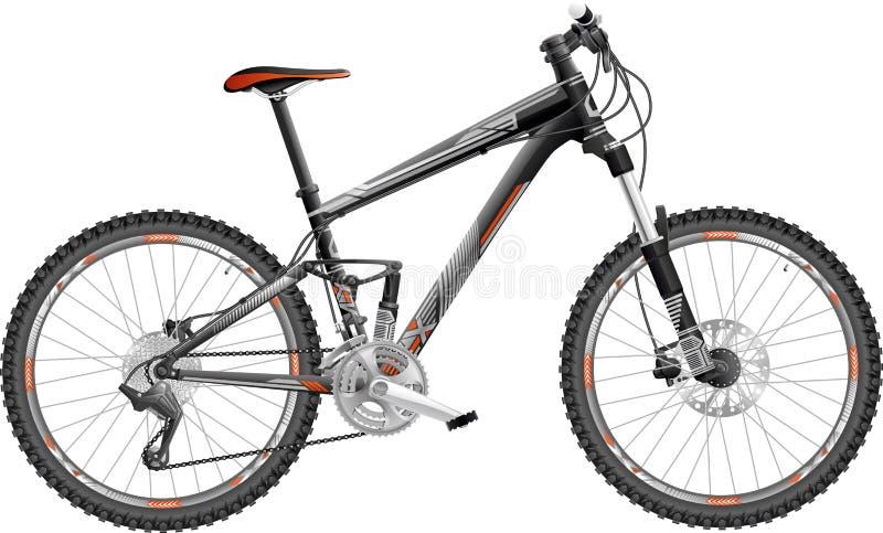 Πλήρης-αναστολή ποδηλάτων βουνών διανυσματική απεικόνιση
