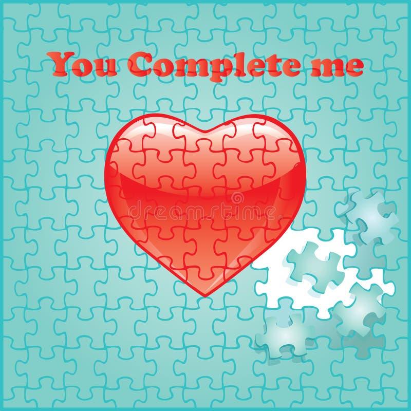 πλήρης καρδιά εγώ γρίφος κόκκινος εσείς διανυσματική απεικόνιση
