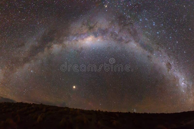 Πλήρης μισό-κύκλος το γαλακτώδες αστέρι γαλαξιών τρόπων που πυροβολείται που κάμπτει πέρα από το τοπίο στοκ φωτογραφία με δικαίωμα ελεύθερης χρήσης