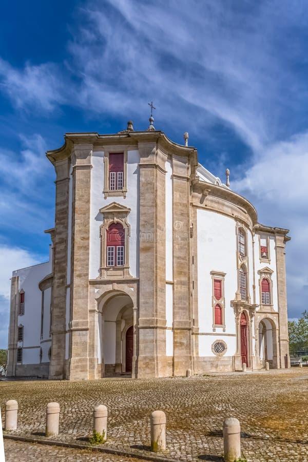 Πλήρης πανοραμική άποψη του κλασικού μπαρόκ κτηρίου, άδυτο Λόρδου Ιησούς DA Pedra, καθολικό θρησκευτικό κτήριο σε Obidos, στοκ εικόνες με δικαίωμα ελεύθερης χρήσης