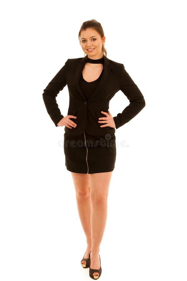 Πλήρης φωτογραφία μήκους της γυναίκας στην κοντή φούστα που απομονώνεται άνω του άσπρου α στοκ φωτογραφία με δικαίωμα ελεύθερης χρήσης