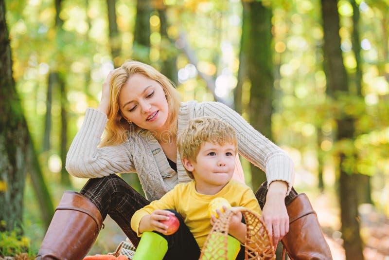 Πλήρης χαλαρώστε Ο ευτυχής γιος με τη μητέρα χαλαρώνει στο δασικό οικογενειακό πικ-νίκ φθινοπώρου : Αγάπη μητέρων το μικρό αγόρι  στοκ εικόνα