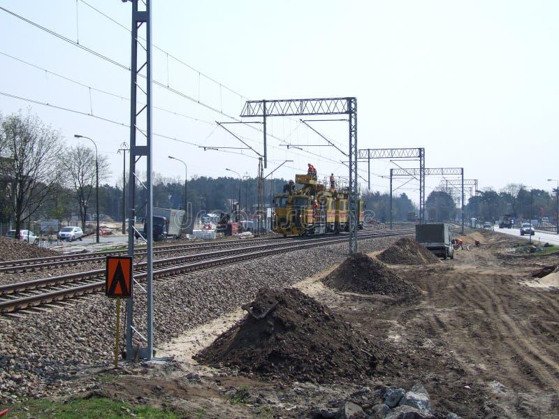 Πλήρωμα κατασκευής διαδρομής σιδηροδρόμων στοκ φωτογραφία με δικαίωμα ελεύθερης χρήσης