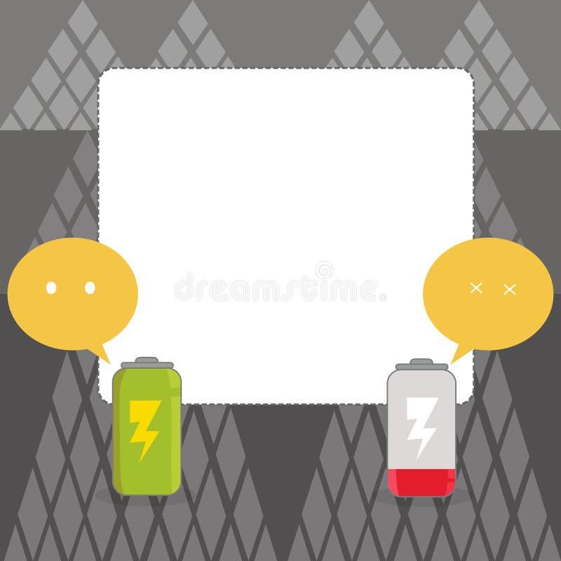 Πλήρως φορτισμένη και εκφορτισμένη κενή μπαταρία με τη λεκτική φυσαλίδα Emoji δύο χρώματος που δείχνει τον άγρυπνο και νυσταλέο τ διανυσματική απεικόνιση