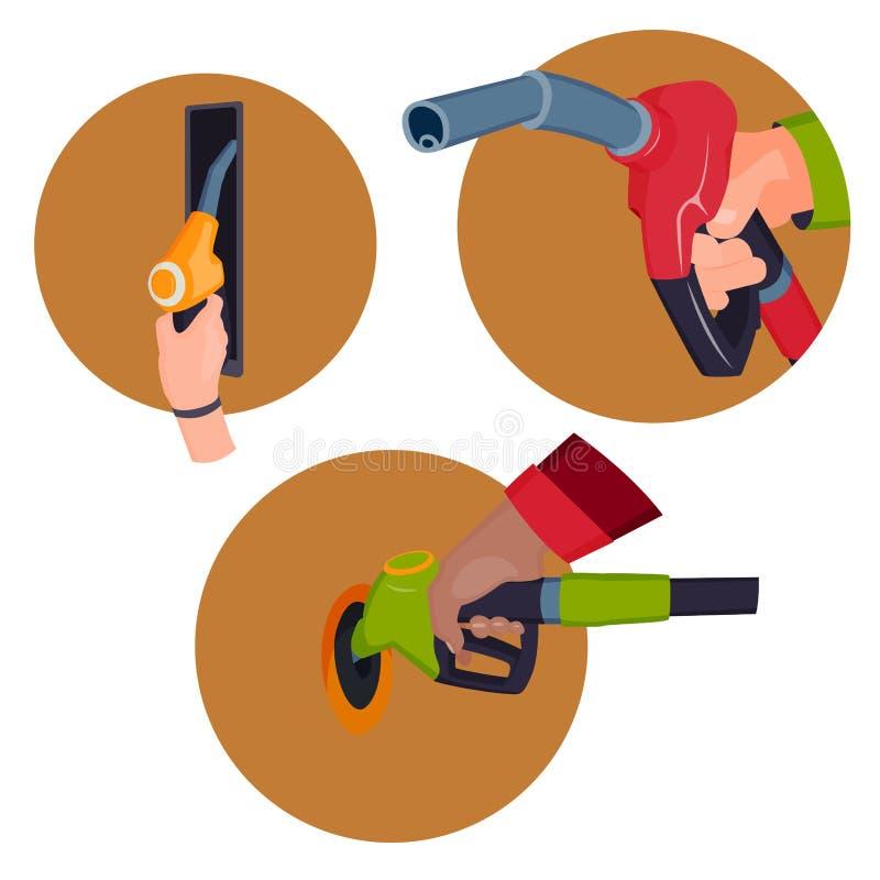 Πλήρωση του πιστολιού σταθμών βενζίνης στα χέρια ανθρώπων απεικόνιση αποθεμάτων