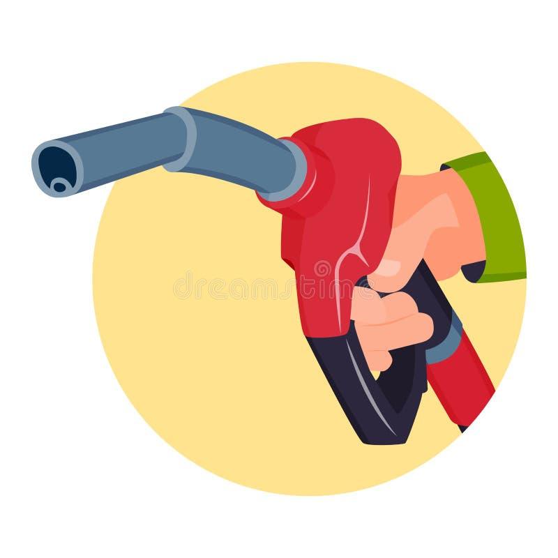 Πλήρωση του πιστολιού σταθμών βενζίνης στα χέρια ανθρώπων ελεύθερη απεικόνιση δικαιώματος