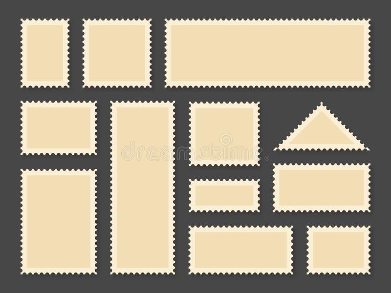 Πλαίσια γραμματοσήμων Κενά γραμματόσημα στο διαφορετικό μέγεθος για την εκλεκτής ποιότητας κάρτα εγγράφου και το μετα φάκελο παρά διανυσματική απεικόνιση