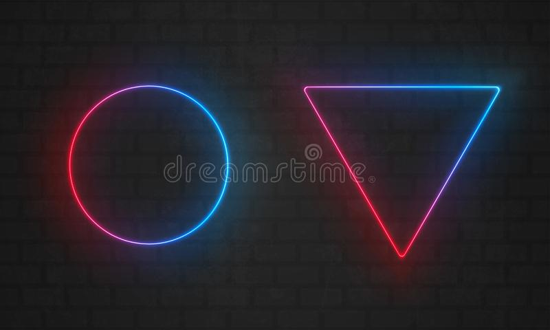 Πλαίσια νέου Διανυσματικές λάμπες φωτός γραμμών, τρίγωνο, σύνορα πλαισίων νέου κύκλων απεικόνιση αποθεμάτων